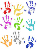 Colored hand prints — Stock Photo