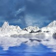 Snow mountains in cloudy day — Stock Photo