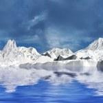 hory sněhu v zamračený den — Stock fotografie