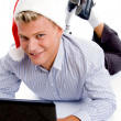 Royalty-Free Stock Photo: Christmas boy working on laptop