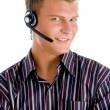Friendly telephone operator — Stock Photo