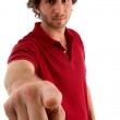 Male pointing and looking at camera — Stock Photo #1347033