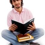 jeune étudiant occupé avec ses livres — Photo