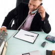 Employee busy on phone — Stock Photo