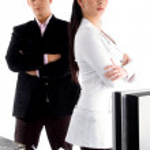 Secretary standing with boss — Stock Photo