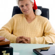 Smiling handsome male with santa hat — Stock Photo