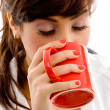 Woman drinking hot coffee — Stock Photo