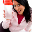 Smiling female with bottle - Stock Photo