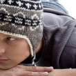 Young man wearing winter hat — Stock Photo
