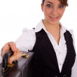 Businesswoman holding briefcase — Stock Photo