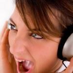 Executive enjoying loud music — Stock Photo #1349343