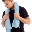 Man with towel around his neck — Stock Photo