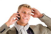 Businessman busy with phone call — Stock Photo