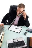 Empleado ocupado por teléfono — Foto de Stock