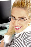 Close view of smiling businesswoman — Stock Photo