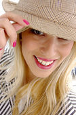 Close view of woman with hat — Stock Photo