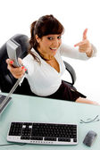 Businesswoman offering phone call — Stock Photo