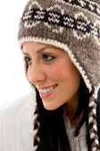 Smiling woman wearing woolen cap — Stock Photo