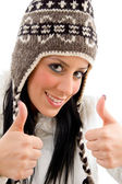Smiling woman with woolen cap — Stock Photo