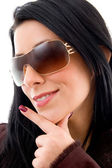 Young beautiful woman with sunglasses — Stock Photo