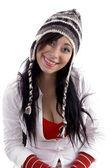 Beautiful woman wearing woolen hat — Stock Photo