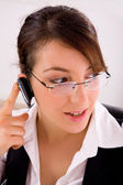 Service provider talking with blue-tooth — Stock Photo