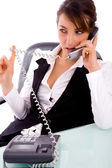 Service provider communicating on phone — Stock Photo