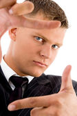 Businessman showing frame gesture — Stock Photo