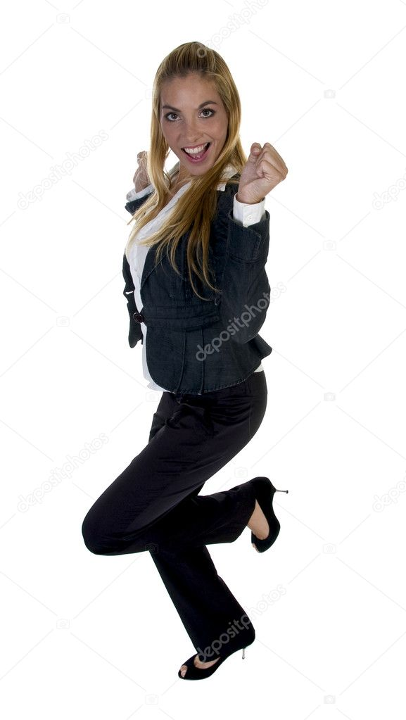Businesswoman clenching fist isolated with white background — Stock Photo #1346540