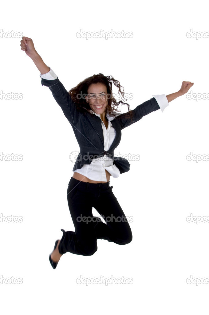 Businesswoman jumping against white background — Stock Photo #1346552