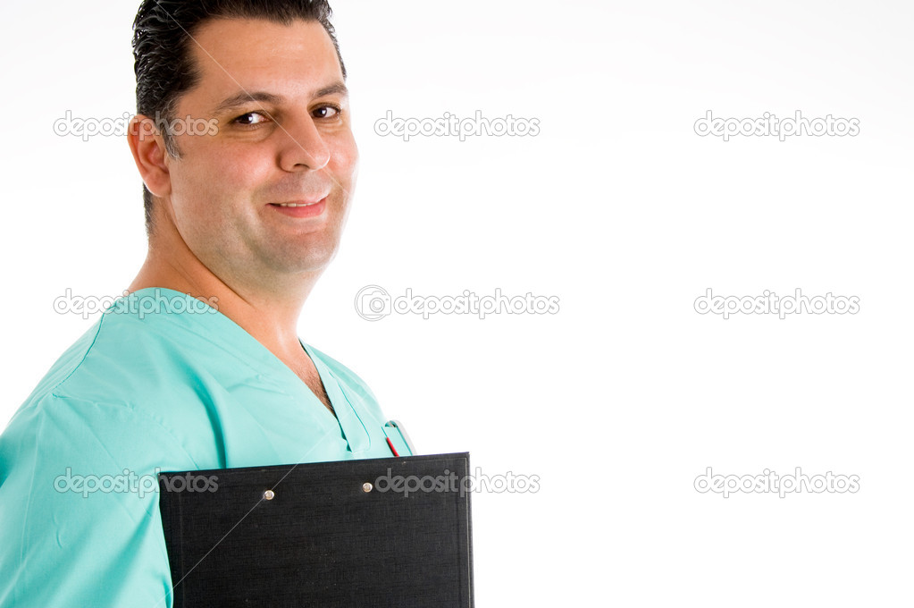 Medical man with reports with white background  Stock Photo #1346903