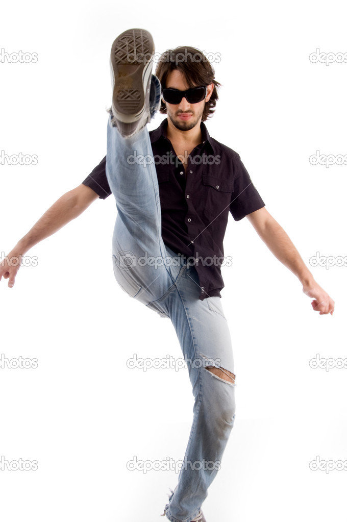 Smart male kicking high with white background — Foto Stock #1347161