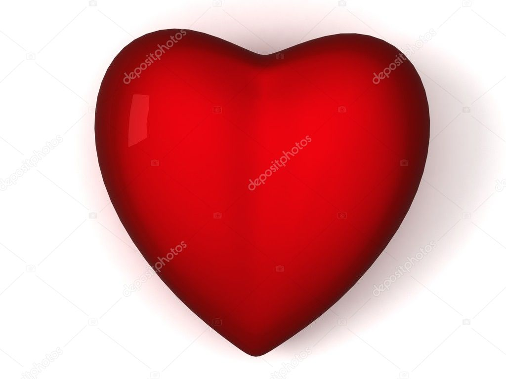 Front view of 3d red heart on an isolated background  Stock Photo #1347338