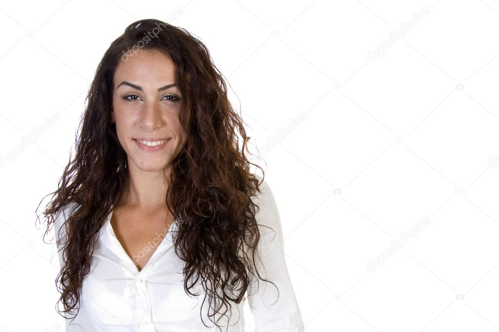 Portrait of smiling lady on an isolated white  background  Stock Photo #1348710