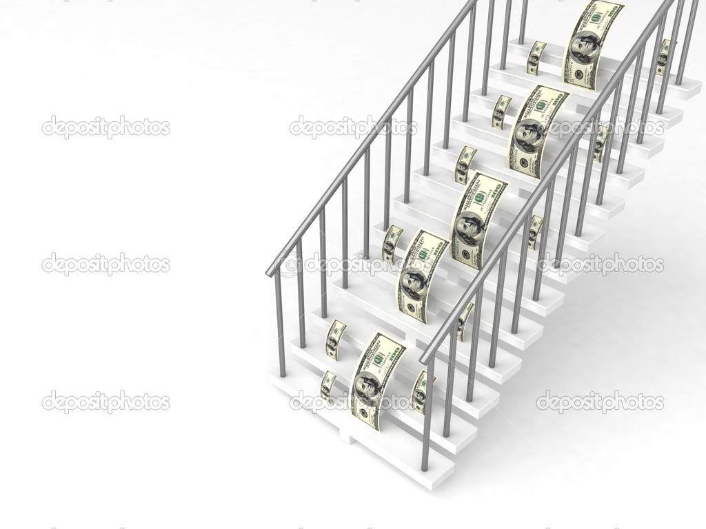 3d dollars on stairs on white background — Stock Photo #1349078