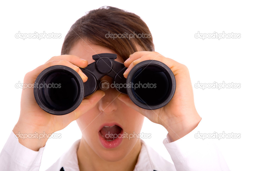 Woman looking through binocular — Stock Photo ...