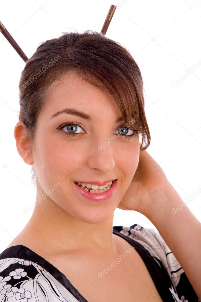 Smiling Japanese Woman With Hair Sticks Stock Photo