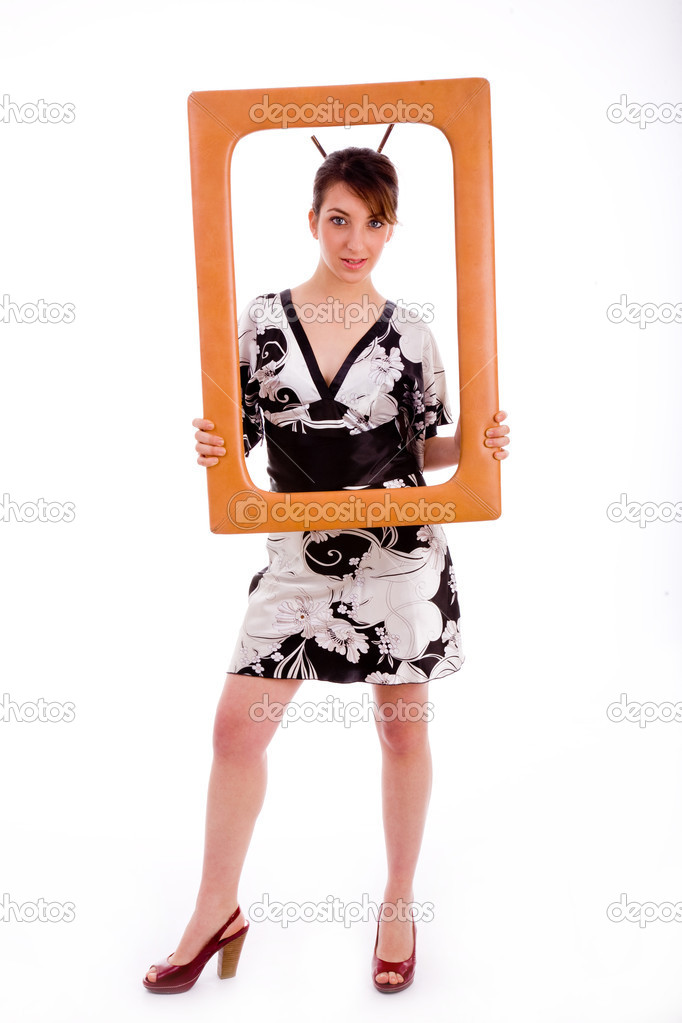 Full body pose of woman in kimono holding a frame against white background — Stock Photo #1349414