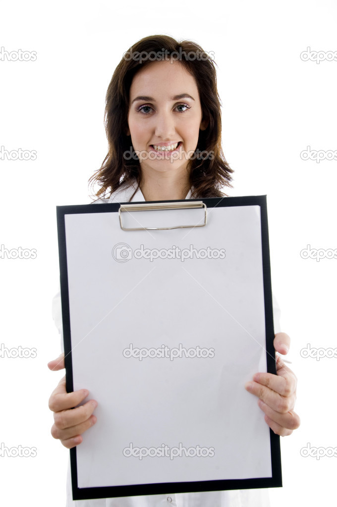 Smart doctor holding clipboard against white background  Stock Photo #1349975