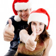 Royalty-Free Stock Photo: Christmas coupe with thumbs up