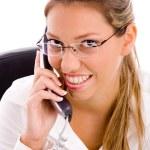 Smiling executive talking on phone — Stock Photo