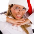 Smiling manager wearing santa cap — Stock Photo