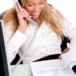 Businesswoman working in office — Stockfoto