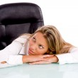 Businesswoman thinking at work desk — Stock Photo #1350225