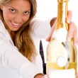 Royalty-Free Stock Photo: Businesswoman showing champagne bottle