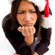 Sad asian woman with christmas hat — Foto Stock