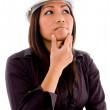 Female asian architect thinking — Stock Photo