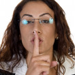 Stock Photo: Woman posing to keep silence