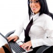 Female lawyer working on laptop — Stock Photo #1350979