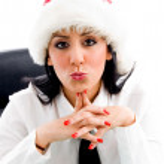 Kerstmis vrouw maken kus gebaar — Stockfoto